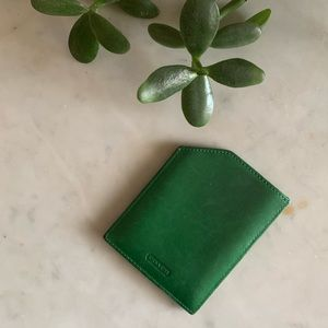 Small Kelly Green Coach Card Holder